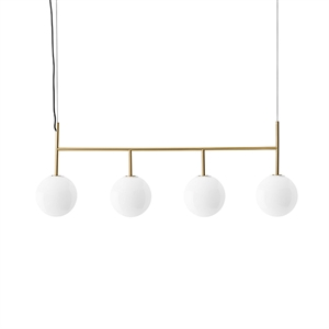 MENU TR Pendant Rail Brushed Brass with Shiny Opal Bulb