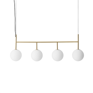 MENU TR Pendant Rail Brushed Brass with Matt Opal Bulb